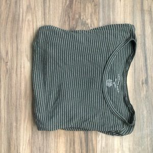 Short sleeve, green and white stripped shirt